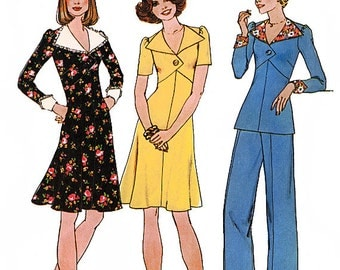 Simplicity 7134 Vintage 70s Misses' Short Dress or Top and Wide-Leg Pants Sewing Pattern - Uncut - Size 10 - Bust 32.5