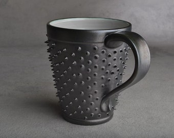 Spiky Mug Made To Order Black and Gray Dangerously Spiky Coffee Mug by Symmetrical Pottery