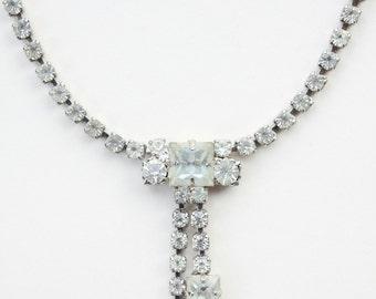 Antique 50's Rhinestone Single Strand Drop Necklace