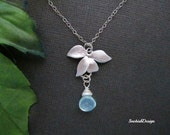 Orchid Necklace, Birthstone Necklace, Custom Necklace, Dainty Necklace, Mothers Necklace, Sister Necklace, Wedding Jewelry, Bridal Jewelry
