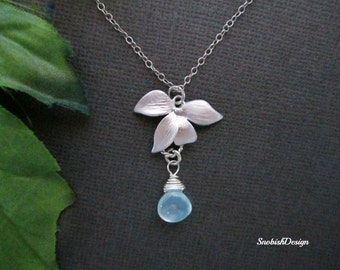 Orchid Necklace, Birthstone Necklace, Dainty Necklace, Mothers Necklace, Bridesmaid Necklace, Bridesmaid Gift, Wedding Jewelry, Bridal