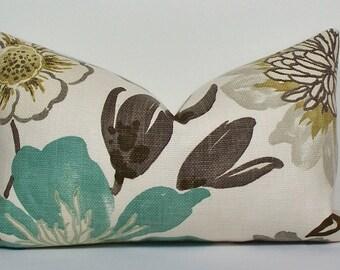 Floral turquoise teal Pillow Cover Lumbar decorative throw pillow gray aqua taupe brown jellybean, Designer Kravet cushion
