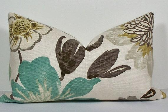 Floral Turquoise Teal Pillow Cover Lumbar Decorative Throw