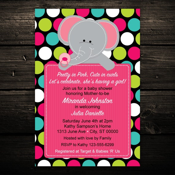 Elephant Printable Baby Shower Invitation, Birthday Invitation in Any Color