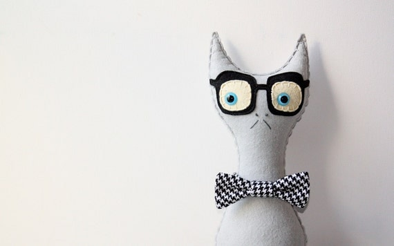 Grey Stuffed Plush Felt Cat, Gray Cat Pillow, Smarty Cat Stuffed Animal With Bowtie - SAumanSmith