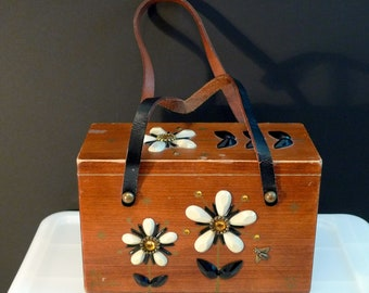 Enid Collins Les Fleurs 60's Wooden Box Purse EC logo Honey Bee Flowers authentic handbag vintage retro Rhinestones