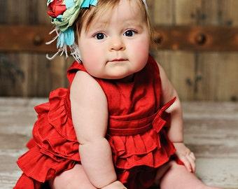 Gorgeous Red, Aqua Blue, and Green Satin Flower Headband - M2M Matilda Jane Serendipity