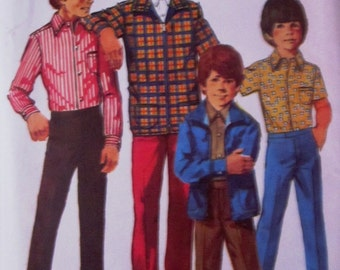 Simplicity 9595 Boys 70s Jacket Shirt Pants Sewing Pattern Chest 25