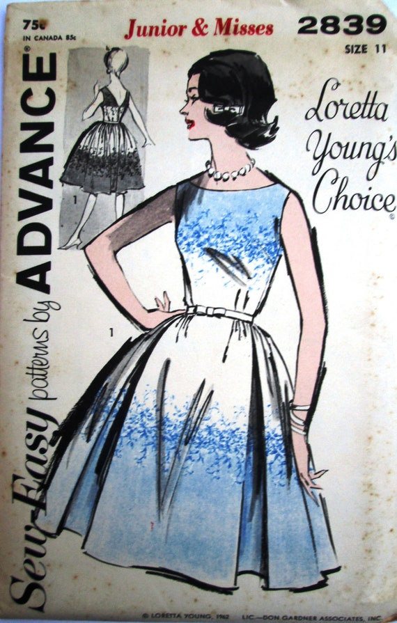 Advance 2839 Women's 60s Loretta Young Full Skirted Dress with V-Back Sewing Pattern Size 11 Bust 31