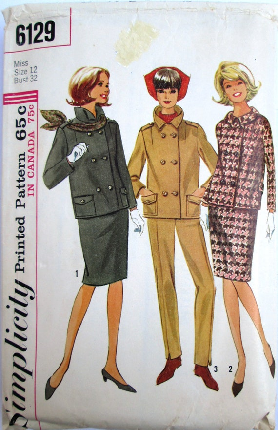 Simplicity 6129  Womens Suit Skirt Pants Sewing Pattern
