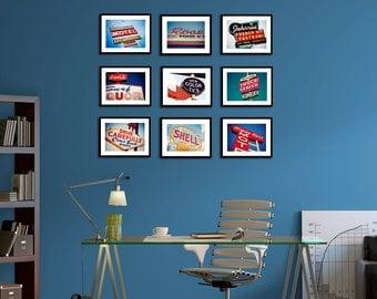 Americana Neon Set of Nine Vintage Neon Sign Prints - Red White Blue Retro Home Decor - Save 10-20% on Set of Nine Fine Art Photographs
