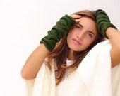 Dark Green  knit fingerless gloves, Mittens, Arm Wrist Warmers