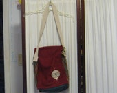 Reconstructed Recycled EcoFriendly Holiday Hand Bag Tote Nice Size Lots of Pockets