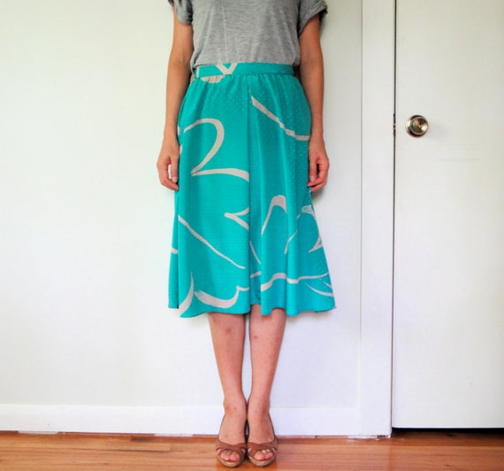 vintage women turquoise emerald aqua green grey printed pleated high waisted midi knee long full skirt (size 4 6 8)