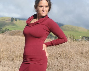 Cowl Neck Shirt - Fitted Long Sleeve - Marsala - Garnet - Burgundy - Red - Organic Clothing - Eco Friendly