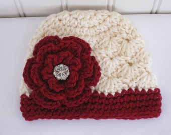 Crochet Girls Hat - Baby Hat - Winter Hat - Toddler Hat - Off White (Cream) & Burgundy Wine w/ Flower - in sizes Newborn - 3 Years