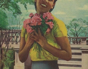 Colored Girl with Roses Calendar Art Print
