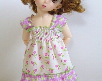 LTF/LittleFee/YOSD Shirred Pink Tulip Sundress w/ Ruffle