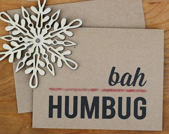 Funny Holiday Cards Set - BAH HUMBUG - Set of 10