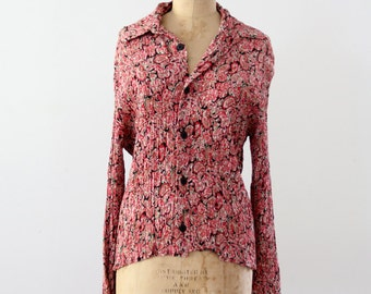 1970s Dusenbery shirt,  vintage pink floral button down shirt