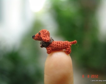 0.4 inch miniature brown Dachshund dog - Micro amigurumi crochet animal
