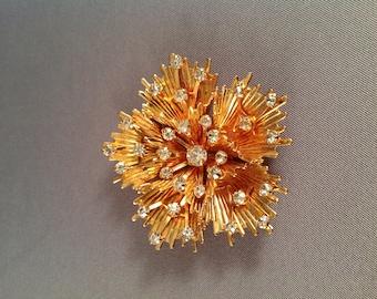 Vintage Starburst Rhinestone Brooch by Emmons Jewelry - clear rhinestones - gold tone - flower - snowflake