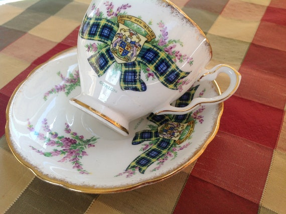 Clan Gordon English Royal Stafford Bone China Vintage Teacup & Saucer Set - Scottish Tartan - Heather - Family Crest