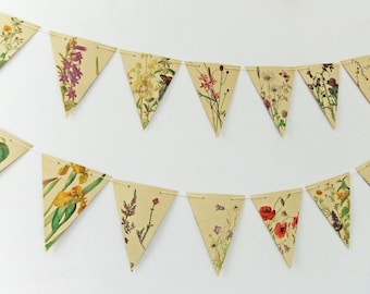 Summer Garland. Paper Bunting. Recycled Pennants. Eco-friendly banner. Upcycled Bunting - wedding decor - Summer Wedding Pennants