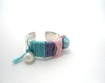 sterling silver pink blue adjustable fiber ring-  FREE SHIPPING- pink jewelry- turquoise- purple and fresh seawater pearls deco