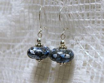 "Blue Mosaic Magnesite Short Sterling Silver Dangle Earrings--""Sea Sentiments"""