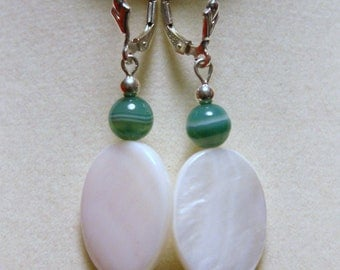 "Oval White Mother of Pearl with Green Banded Agate Sterling Silver Dangle Earrings--""Green Seas"""