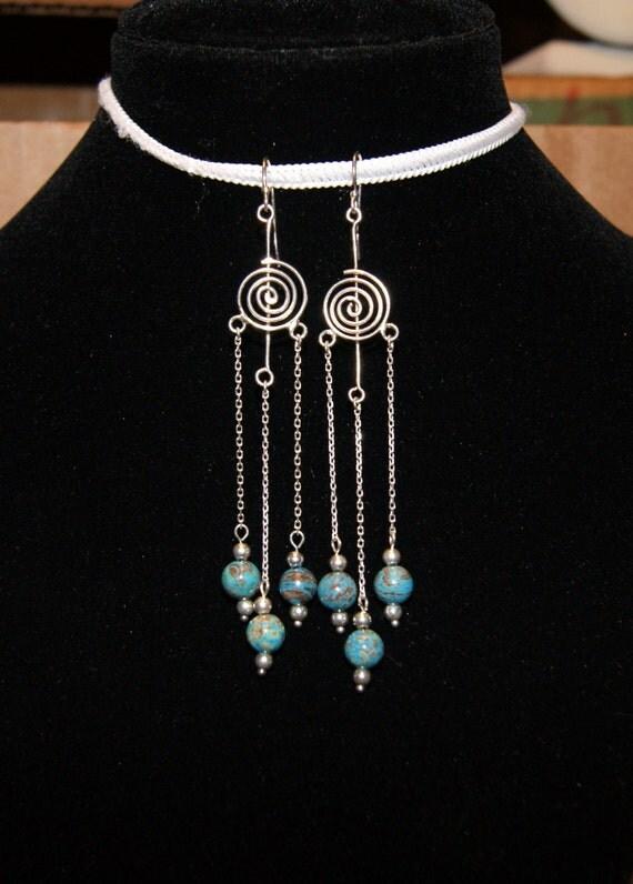 """Imperial Jasper Spiral Sterling Silver Chain Long Chandelier Dangle Earrings--""""Vertigo"""""""