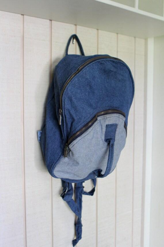 DENIM oxford contrast COLOR BLOCK blue backpack tote carry on bag
