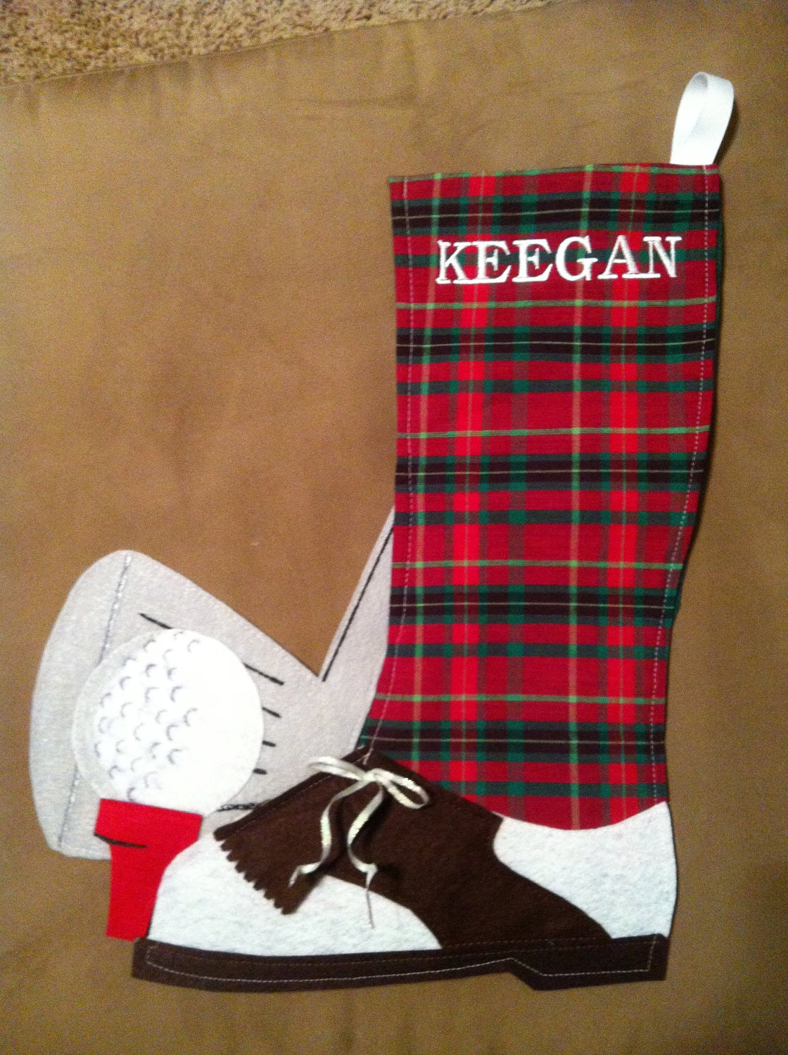 Custom golf personalized stocking or gift bag for Custom made christmas stockings