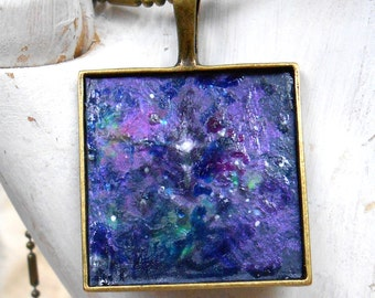 Constellation Necklace Hand Painted Galaxy Nebula Jewelry Outer Space Science Fiction Scifi Geekery Blue Purple Stars Original Tiny Painting