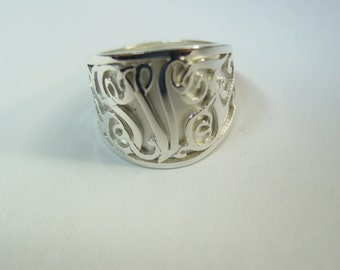 Sterling silver initial ring.any three  initials .SRR5