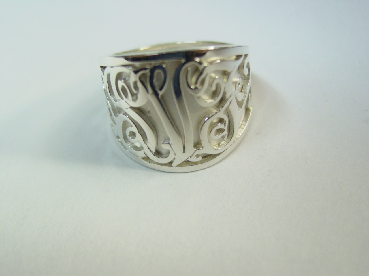 monogram ring sterling silver any ring size ssr6