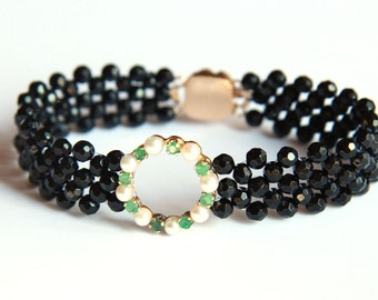 Hand Woven Sparkling Circle Bracelet with Black Onyx, Emeralds and Pearls
