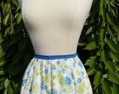 Women's Half Apron - Blue and Green Floral with Ruffle