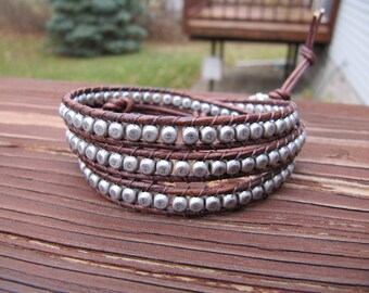 Antique Silver Rounded Cube Triple Rustic Brown Beaded Leather Wrap Bracelet