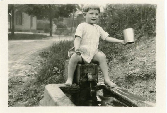 "Vintage Photo ""Catching Water"", Photography, Paper Ephemera, Antique, Snapshot, Old Photo, Collectibles - 0007"