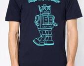 mens robot dance contest winner- American Apparel Navy T shirt- Sizes S,M, L, XL,XXL- worldwide shipping