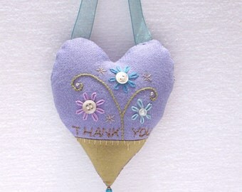 THANK YOU embroidered heart ornament with vintage pearl buttons, Mothe's Day keepsake heart