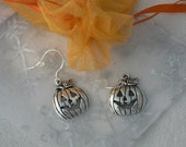Happy Jack O Lantern Halloween Earrings Sterling Silver Hooks Carved Pumpkin Charm Simple Everyday Jewelry