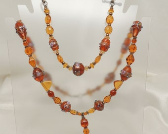 Amber Beaded Necklace and Bracelet