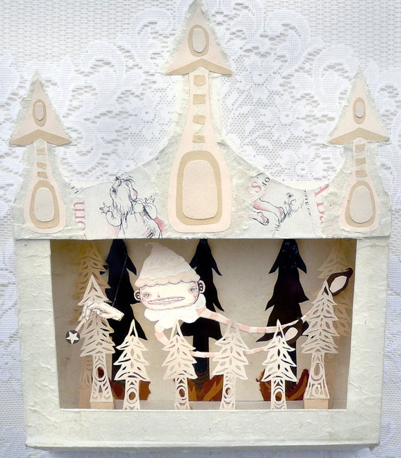 Fine Art Diorama Shadow Box Paper Sculpture - Mini Theatre Tiny Puppets - Fairy Godmother Forest