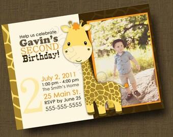 Giraffe Birthday Invitation for Boys or Girls (Printable Digital file)