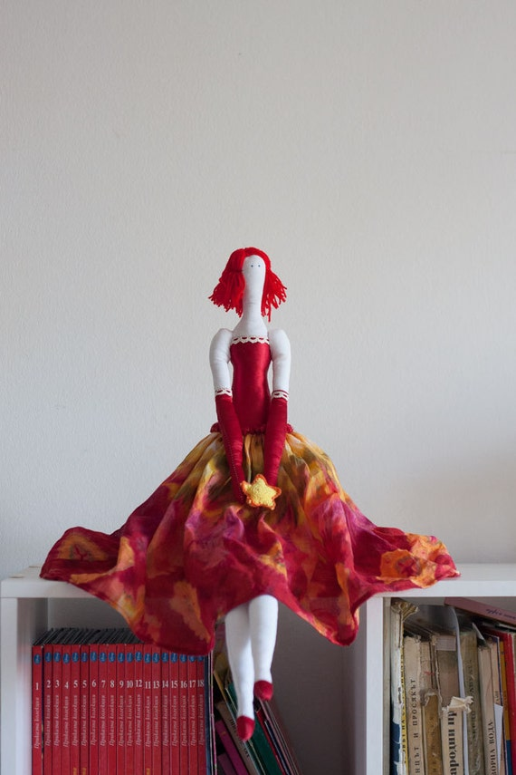 Fabric art doll Fine cotton fairy toy Satin red dress Crochet star Luxury doll Size 26' /66 cm Girl Gift Or Collectible