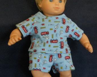 15 inch Doll Clothes American Girl Bitty Twin Boy - Summer PJ's