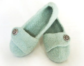 Seafoam Womens Felted Wool Slippers